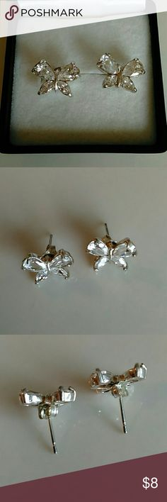 Stainless Steel Butterfly Earrings Stainless steel cubic zirconia butterfly earrings. New without tags. Comes with gift box. Jewelry Earrings