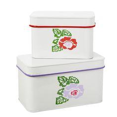 Rice DK Set of 2 Rose Printed Metal Boxes