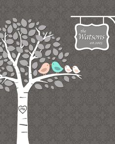 Last Minute Orders / Personalized Family / PRINTABLE PDF / Family Tree with Kissing Love Birds - 8x10 inches. $18.00, via Etsy.