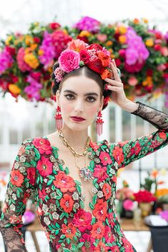 Inspired by Frida Kahlo colourful floral wedding editorial, dress by Joanne Fleming Design, photo by Roberta Facchini, Hair by Kasia Fortuna, MUA Sylwia Kunysz colourfulwedding Fern Wedding, Floral Wedding, Wedding Hair, Inspiration Mode, Wedding Inspiration, Frida Kahlo Wedding, Mexican Fashion, Strictly Weddings, Mexican Dresses