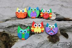 Owl magnet, polymer clay, Mountain Pearls by nataša Hozjan Kutin | by mountain.pearls