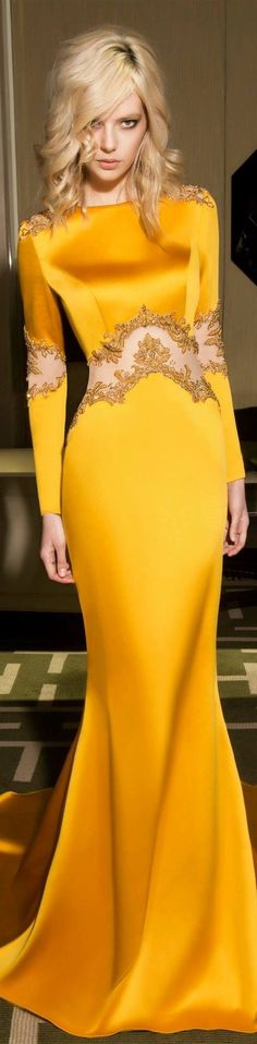 yellow maxi dress @roressclothes closet ideas women fashion outfit clothing style Designer fashion | Dany Tabet 2015: