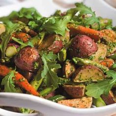 Roasted Spring Vegetables with Arugula Pesto - I may add chicken, shrimp or procuitto for a main course supper.