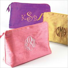 Silk Solid Embroidered Monogram Cosmetic Bag