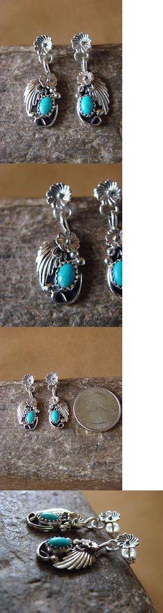 Earrings 98497: Navajo Indian Sterling Silver Turquoise Dangle Earrings - Lee Shorty -> BUY IT NOW ONLY: $32.99 on eBay!
