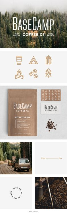 Rickety Robot — Basecamp Branding, Branding, Brand Board, Simple Logo, Coffee Branding, Packaging, Typography, Coffee Packaging, Icon Design