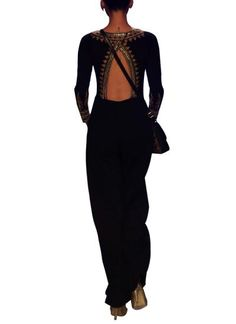 Indian Fashion Designers - Anita Dongre - Contemporary Indian Designer - Jumpsuits - AD-AW14-SI126 - Stylish Black Jumpsuit