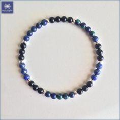 Stress Relief & Worry Free Bracelet ~ Azurite Malachite, Lapis Lazuli, Black Onyx