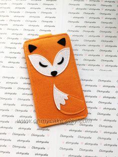 Custom Size Felt iPhone Case, Cell Phone Sleeve, Felt Phone case, Handmade cell phone purse, cute orange fox case, iPhone 7 case