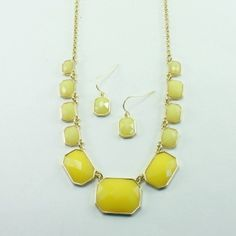 Yellow Rectangle Necklace Set