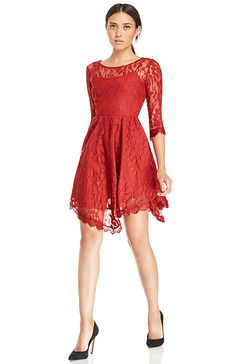 DAILYLOOK Eyelash Lace Fit and Flare Dress in Red S - M | DAILYLOOK