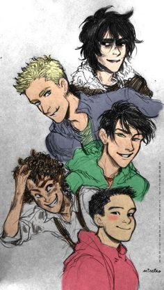 Nico Di Angelo, Percy Jackson, Jason Grace, Frank Zhang, and Leo Valdez <----Nico is smiling :)