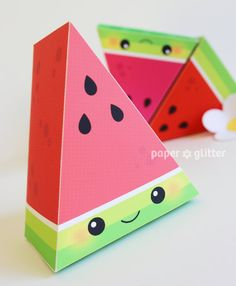Watermelon Slice Paper Cake favor baking party box printables - Editable Text Printable PDF 0134. $4.50, via Etsy.