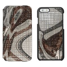 Grey and Brown Abstract Art / Incipio Watson™ iPhone 6, 2-in-1 Wallet Case + Interior Case! #fomadesign