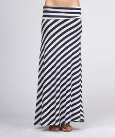 Take a look at this Navy & White Diagonal Stripe Maxi Skirt by BOLD & BEAUTIFUL on #zulily today!