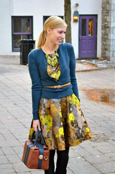 Another awesome way to wear a cardi and a belt this fall (also how much are we loving this Louche brand? That dress is phenomenal!)