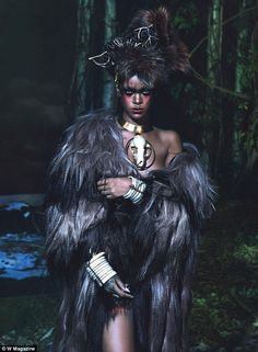 Really wild! Rihanna, 26, explored her dark side in the tribal-inspired spread