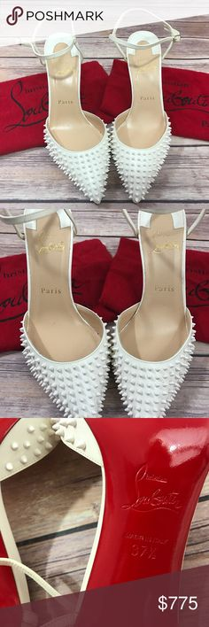 """Christian Louboutin Bonus-Two 14""""x9"""" royal red DB -Stunning all white Christian Louboutin spiked heels with a gorgeously pointed front toe -ORIGINALLY $995.00 **Brand new with out box** -Name: Baila             -Color: White -Size: 37 1/2 (US 7 1/2)                                  -Style: Pointed toe pump with spikes (Kid white neige leather material)  -Material: Kid Leather -Sling back adjustable strap  -100% Authentic. -Back heel is…"""