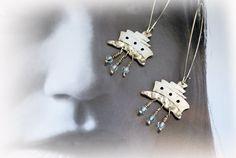 boat silver earrings/ long dangle earrings/ by JewelryByFlorita
