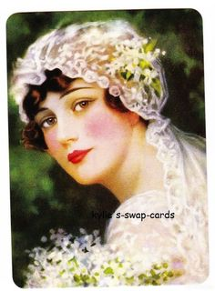 V92 VICTORIAN STYLE swap playing cards MINT COND pretty lady bride by swap-cards-and-more - $2.50