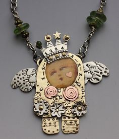 4 Wishes Clementine Necklace Mixed Media by riverpathstudio, $64.00