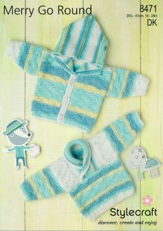 Stylecraft--Sweater and Hooded Cardigan (preemie - age 4)