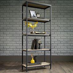 Baird Bookcase 4 Shelf Bookcase, Metal Bookcase, Oak Shelves, Etagere Bookcase, Slim Bookcase, Office Bookshelves, Small Bookcase, Corner Shelves, Home Office Furniture