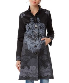 Black & Gray Baroque Button-Up Coat @ 70% OFF