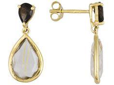 Stratify(Tm) 5.69ctw Golden Rutilated Quartz And Smoky Quartz 18k Yg Over Sterling Earrings