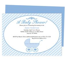 Pram Baby Shower Invite Templates.  Edit yourself with Word, Publisher, Apple iWork Pages. Available in blue (shown) and pink