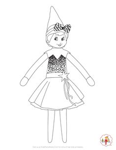 Girl Elf on the Shelf Coloring Page. She's ready for the Christmas season in her., Elf on the Shelf Coloring Page. She's ready for the Christmas season in her holiday dress. Get more free Christmas Coloring pages and Printables . Free Christmas Coloring Pages, Flag Coloring Pages, Free Printable Coloring Pages, Coloring Pages For Kids, Lego Coloring, Coloring Sheets, Free Coloring, Elf On The Self, The Elf