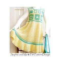 Granny Square summer Dress Crochet Pattern by PdfPatternDesign