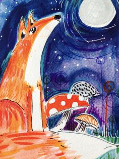 A pretty fox sat contemplating the night sky and full moon. Saturated colour and damp fields with clusters of mushrooms and sparkling stars. Art, Vintage, Painting