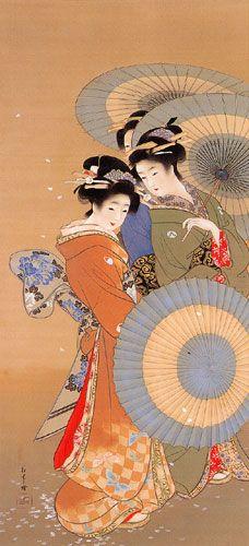 ☂ Paper Lanterns and Parasols ☂ Japonisme Art and Illustration - Shoen Uemura Art Geisha, Illustrations, Illustration Art, Art Chinois, Japan Painting, Art Asiatique, Art Japonais, Japanese Prints, Japan Art