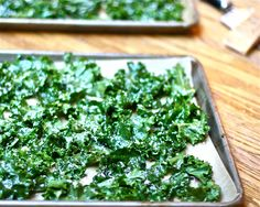 Spicy Kale Chips about to go into the oven