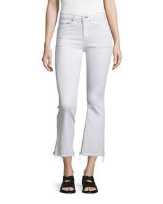 Mid-Rise Cropped Flare-Leg Jeans, Bright White - rag & bone/JEAN
