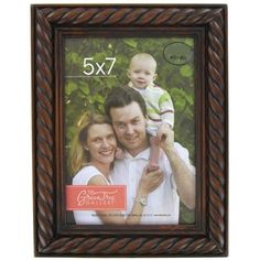 """Green Tree Gallery 5"""" x 7"""" Walnut Rustic Style Wide Profile MDF Picture Frame 