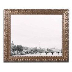 Trademark Fine Art 'Eiffel Tower on Seine 2' Canvas Art by Ariane Moshayedi, Gold Ornate Frame, Size: 16 x 20, Multicolor
