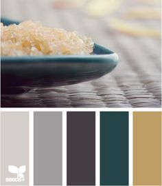 salted tones, I'm thinking the tan color for the master bath and the dark teal for the bedroom