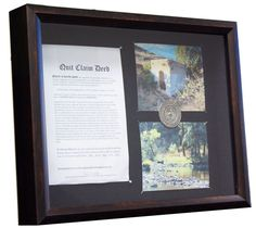 Framed Mining Claim Commemorative Display-Showcase/Mount Your Gold Silver Mine