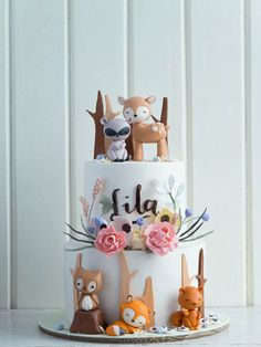 CUTE Woodland Animals Baby Shower Cake by Cottontail Cake Studio as featured on . Pretty Cakes, Cute Cakes, Beautiful Cakes, Yummy Cakes, Amazing Cakes, Woodland Cake, Woodland Party, Baby Shower Cakes, Baby Girl Shower Themes