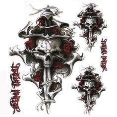 """6"""" x 8"""" Decal, Skull Cross Tattoo"""