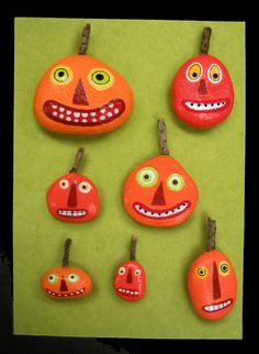 Try this fun craft this October. Painted rocks for Halloween - via Google Search #happyhalloween #jackolantern #kids #preschool #kindergarten #children #easy #simple #decoration #party