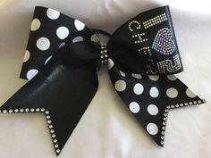 I LOVE 2 CHEER Black and White Polka Dot Cheer Bow by BrendasCheerBows on Etsy