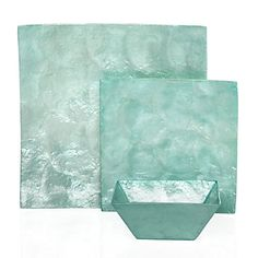 Z Gallerie - Capiz Dinnerware - Aqua  Beautiful