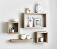 Solid American white oak floating cube shelves are made from the finest grade ki. Solid American white oak floating cube shelves are made from the finest grade kiln dried white oak For a superior fi Diy Bathroom Vanity, Diy Vanity, Bathroom Shelves, Bathroom Storage, Bathroom Small, Shelf Wall, Bathroom Ideas, Bathroom Grey, Vanity Ideas
