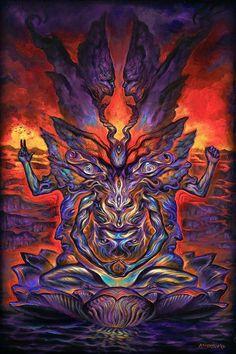 Baphometamorphosis - my newest acrylic painting : Heavymind Satanic Art, Psy Art, Baphomet, Visionary Art, Fantastic Art, Psychedelic Art, Gods And Goddesses, Skull Art, Dark Fantasy