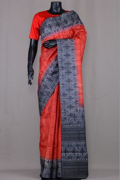 Shaded Red Tussar Silk Printed Saree-VE3527