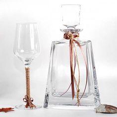 Καράφα κρασιού ποτήρι για γάμο κρυστάλλινα Βοημίας φθηνά λινάτσα Flute, Champagne, Swarovski, Rose, Tableware, Wedding, Products, Valentines Day Weddings, Pink