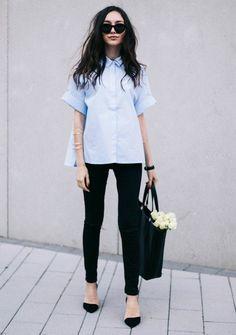 シャツのシルエットが素敵です。 - 海外のストリートスナップ・ファッションスナップ